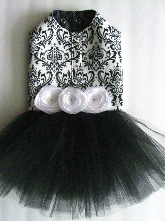 Black and White Damask Tutu Harness Dog Dress by KOCouture on Etsy