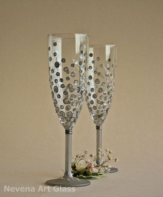 $58.32 Personalized Wedding Toasting Glasses Hand Painted, Silver Polka Dots Swarovski Crystals Champagne Toasting Wedding Glasses Set of 2