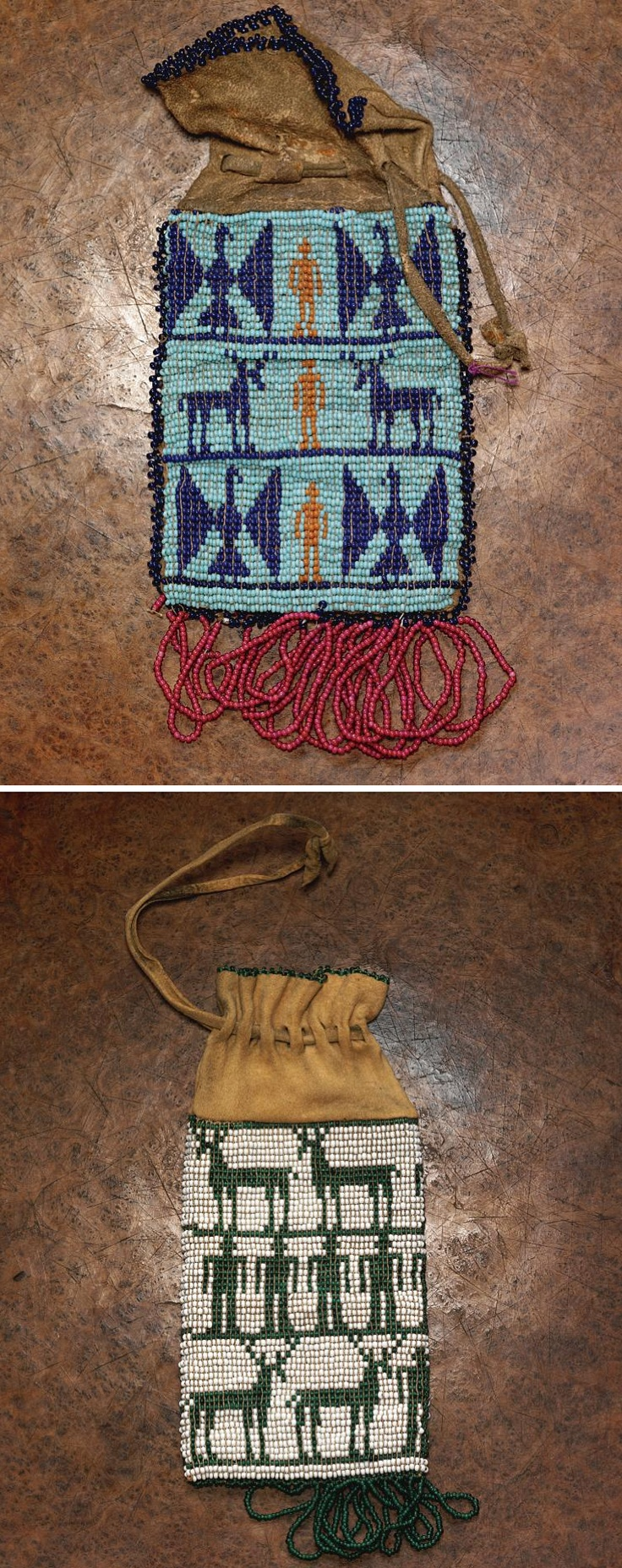 TWO WASCO BEADED PICTORIAL POUCHES  the white ground pouch with pictorial elements on both sides.  lengths: 6 1/4 in. and 6 in. without beaded fringe