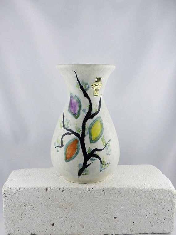 LOVELY JASBA VASE 581-16 Westgerman Pottery housewarming gift floral tree pattern mid-century ceramics fat lava vintage 60s home decor