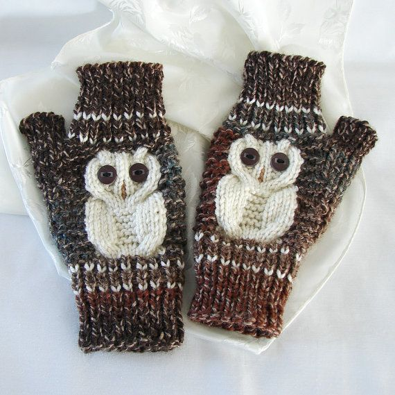 Fingerless Woodsy Owl Gloves Texting Owl Gloves Acrylic by jolay, $30.00