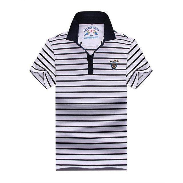 plus size 10XL 9XL 8XL 7XL 6XL Men Polo Shirt Short Sleeve 100% Cotton Striped Polo Business Casual Men Performance Polo Shirts