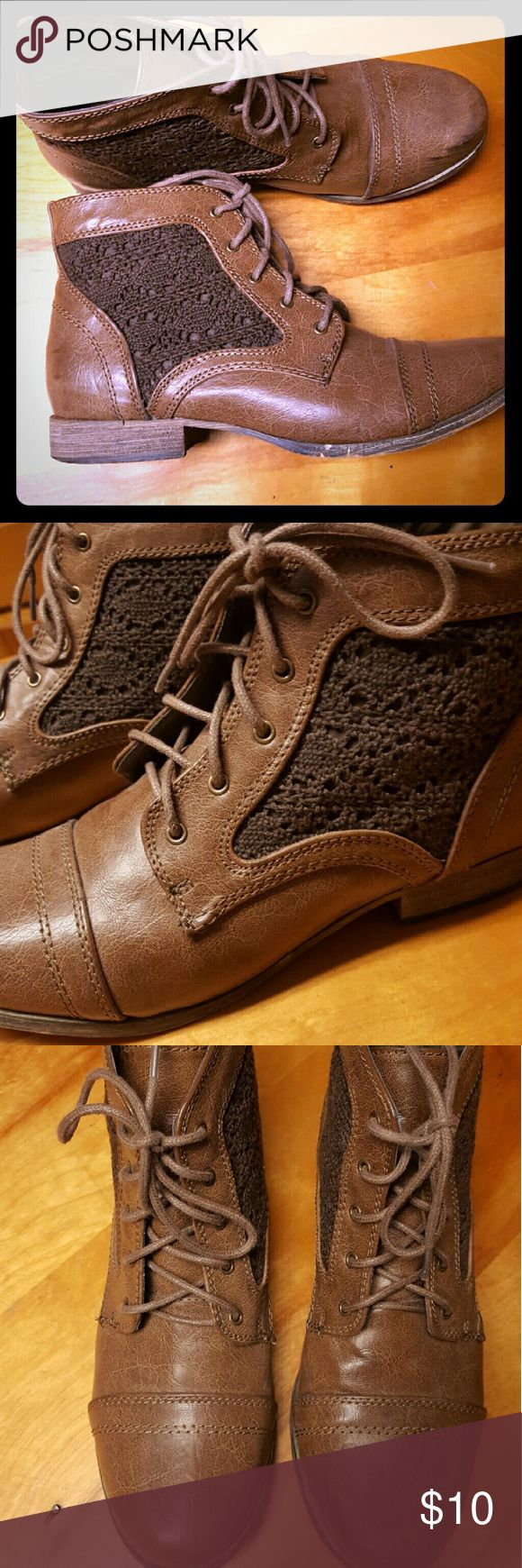 Lace Up Boots *Cute lace up style boots  *crochet inlay *Only worn a few times Francesca's Collections Shoes Lace Up Boots