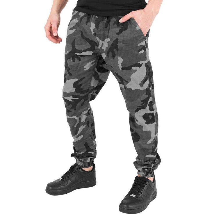 Camo ripstop heren joggingbroek camo leger print zwart/grijs