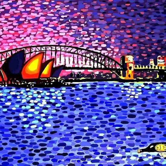 Sydney Harbour #painting #alanhogan #sydney #art #artworks #artists #sydneyharbour #sydneyoperahouse #blue #dots #bridges