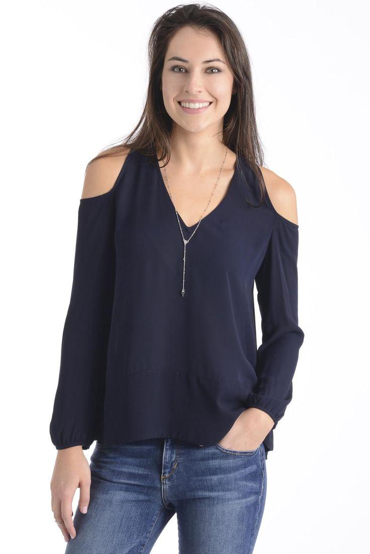 collective concepts woven cold shoulder blouse cold shoulder. Black Bedroom Furniture Sets. Home Design Ideas