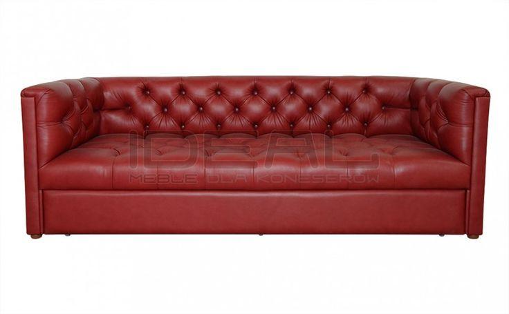 Sofy Stylowe - Sofa Chesterfield London Z Pojemnikiem W Skórze - Ideal Meble (czerwony, red)