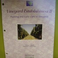Vineyard Establishment II - Planting and Early Care of Vineyards By: Thomas Zabadal   This Michigan State University Bulletin is a companion to the Vineyard Establishment I publication. It is intended to assist new growers in the establishment of a productive vineyard. It addresses the following areas: preplanting activities, planting vines, steps after planting, year 1 vine management, engineering a modern trellis, year 2 vine management and year 3 vine management.