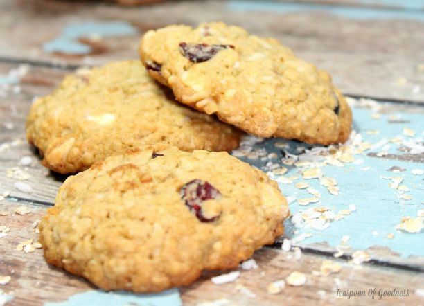 Looking for a fun new twist on the regular oatmeal cookie?  Try these delicious and moist Cranberry Coconut Oatmeal White Chocolate Chip Cookies.