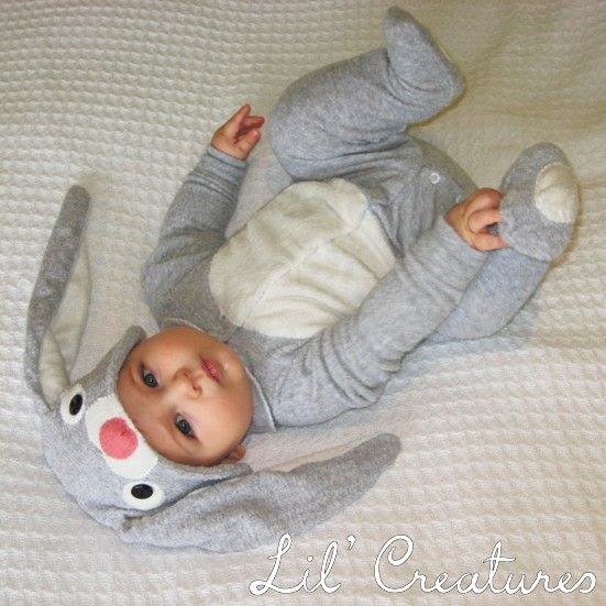 1218m Bunny Rabbit Baby Onesie Costume with Hat by LilCreatures