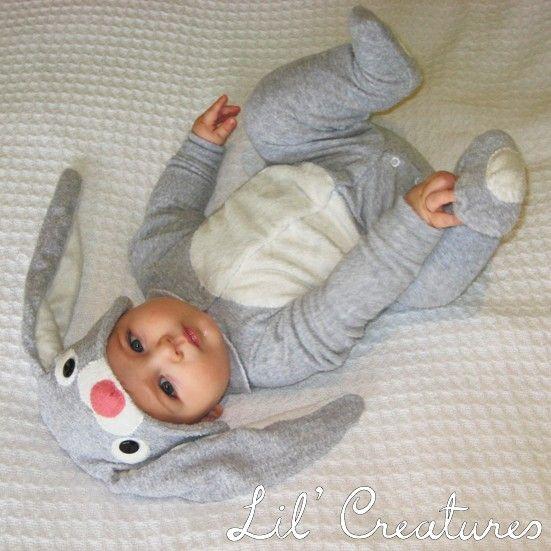 Bunny Rabbit Baby Onesie Costume with Hat Lil' door LilCreatures