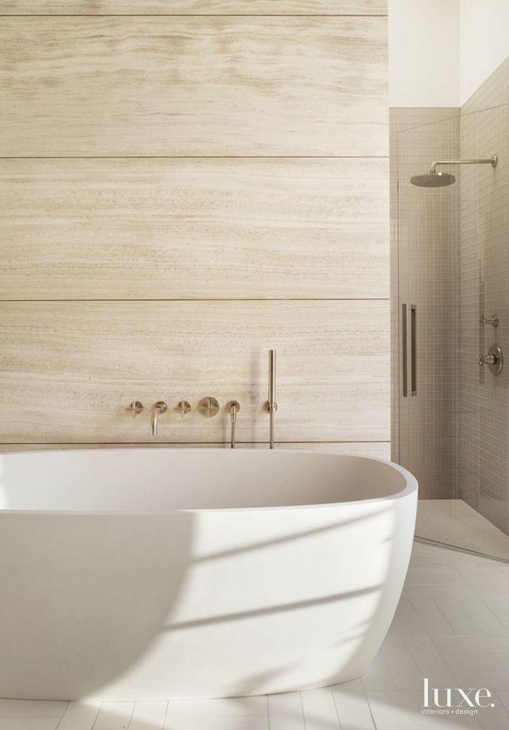 Modern Limestone Master Bath With Soaking Tub   Luxe Interiors + Design