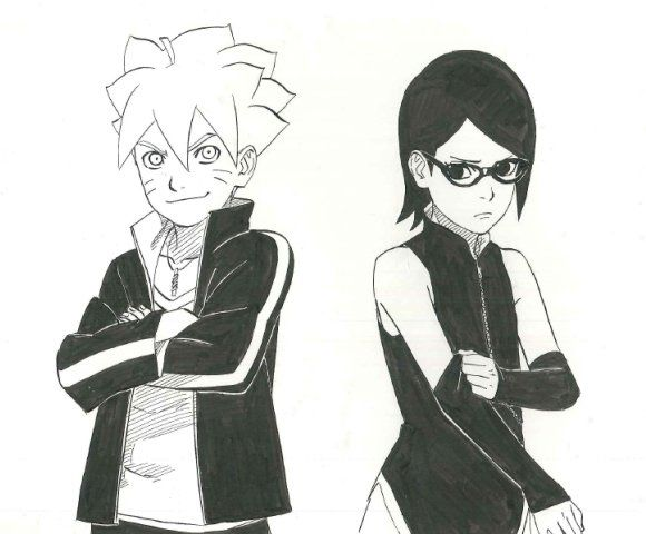 Official images of Boruto (Bolt) & Sarada from the upcoming Naruto series - Naruto Gaiden: Nanadaime Hokage to Akairo no Hanatsuzuki