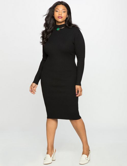 Mock Neck plus size Sweater Dress
