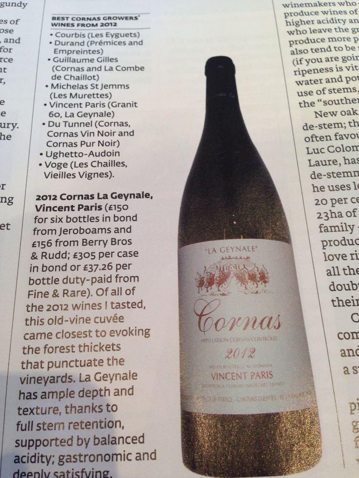 Review of Cornas wine. Cornas la geynale apparently v.gd