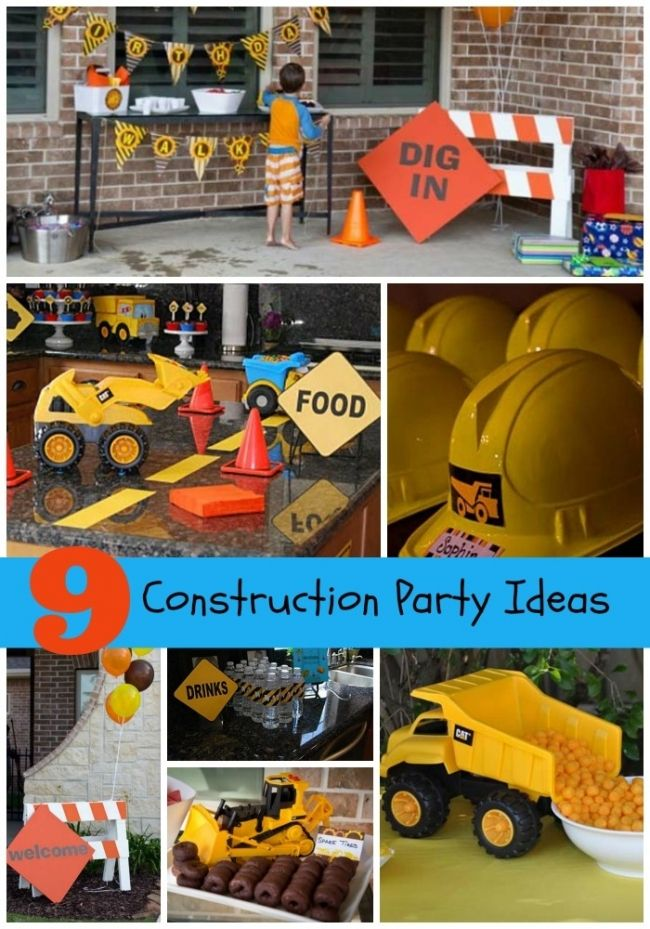 Construction birthday party ideas for boys - like making the table look like a road with the yellow lines
