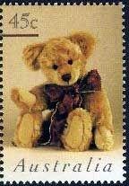 ♥ ◙ Australia, Postage Stamp, Teddy bear sitting (Helen Williams). ◙