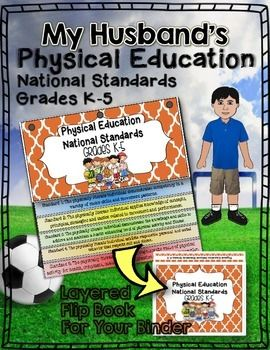 My Husband's Physical Education National Standards Flip Book For Your Binder:Grades K-5Includes:Once assembled you will love that your pages will be layered so you can see each standard. Lines up perfectly and has dashed guidelines for cutting. Cheery, bright, and perfect for staying organized!