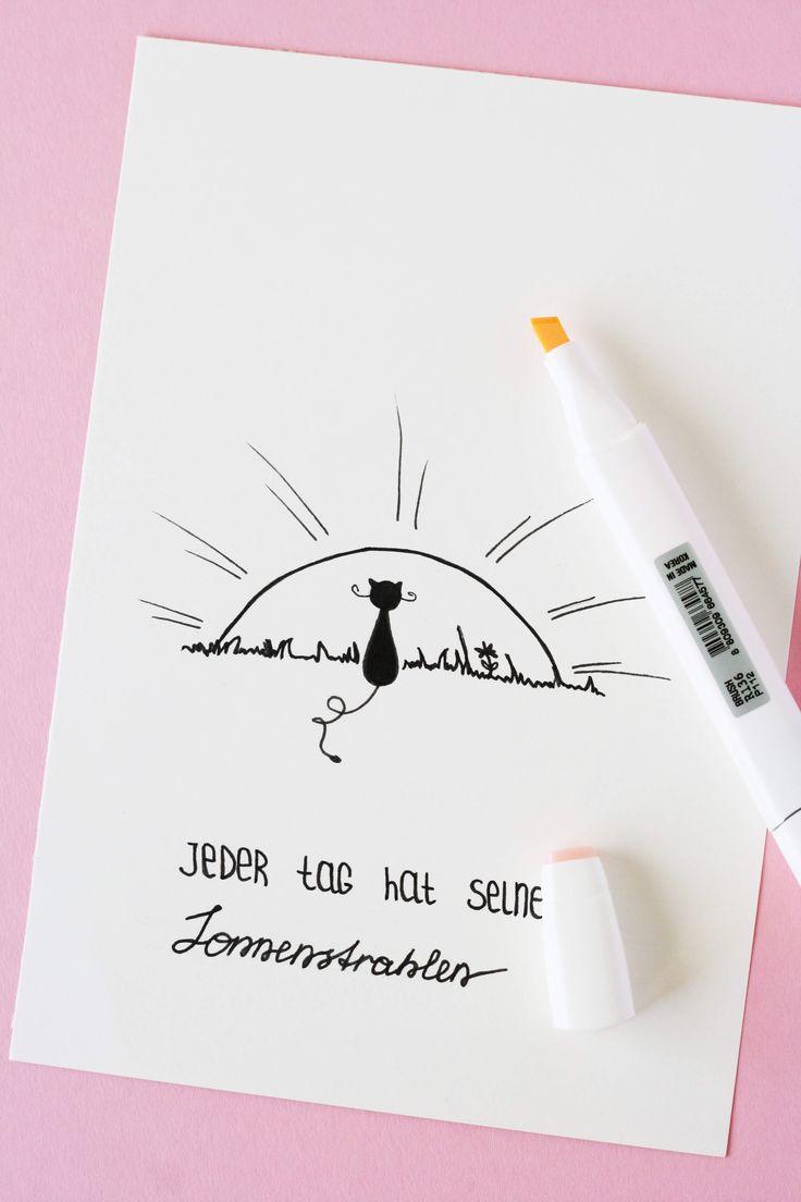 Jeder Tag hat seine Sonnenstrahlen. Bild mit der Sonne und einer Katze. Doodle mit einem Motivationsspruch. Some Joys Blog.