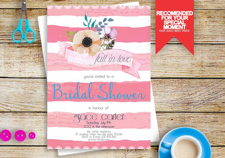 rustic flower bridal shower invitation, bridal shower invitation, watercolour bridal shower invites, fall in love bridal shower #BS219 by BRIDETALKpaperie on Etsy