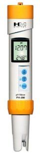 Digital Waterproof pH Meter Model PH-200 by HM Digital. $92.31. Measures pH and Temperature.. Includes a cap, batteries, lanyard, and pH 7.0 buffer.. Auto-ranging three point calibration with digital fine tuning. Simultaneous temperature display.. Waterproof housing. . water purification applications, wastewater regulation, aquaculture, hydroponics, colloidal silver, labs & scientific testing, pools & spas, ecology testing, boilers & cooling towers, water treatment...