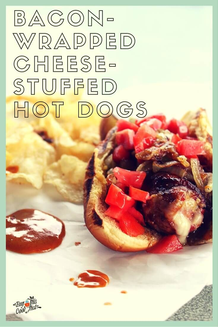 Get you some of these weenies!! Bacon-Wrapped, Cheese-Stuffed Hot Dogs with our super secret Sweet & Spicy Mustard Sauce. Get to the grill!! buythiscookthat.com/hot-dogs/ #recipe #grilled #bacon