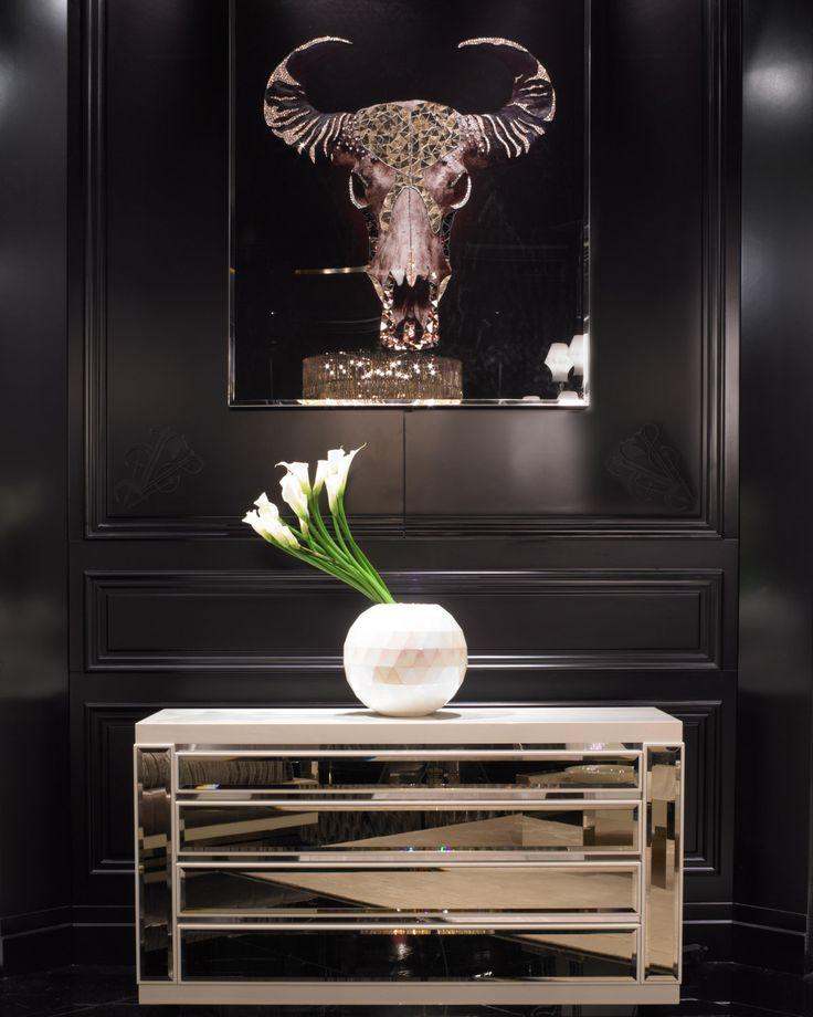 Luxe Italian Designer Swarovski Crystal Wall Art: Buffalo
