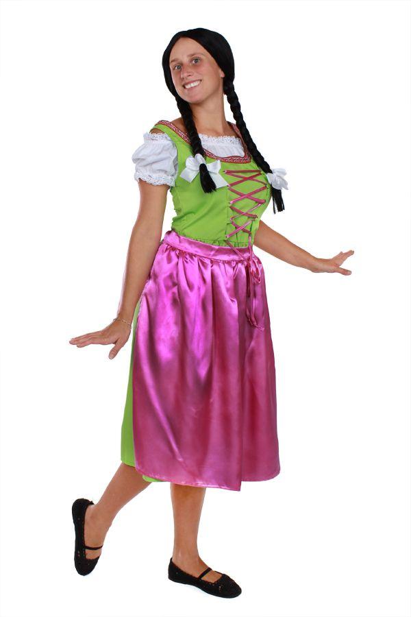"""Außergewöhnliches Trachtenkleid für Damen.  Das was unser Trachtenkleid so speziell macht, ist die ausgefallene Farbkombination von rot und grün.  Zum Lieferumfang gehört, die weiße Bluse mit hochwertiger Spitzenborte, das Kleid in lindgrün und der abnehmbaren Schürze in pink.  Die Oktoberfest Perücke gehört nicht dazu, allerdings finden Sie eine solche Perücke bei """"passend dazu"""".  Die Trachtenmode ist ideal für die Faschingszeit, das Oktoberfest und für sämtliche Kostüm- oder Mottopartys…"""
