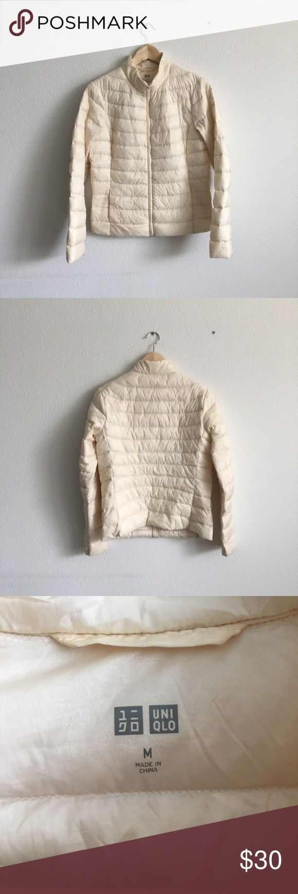 Cream Ultra Light Down Uniqlo Jacket Beautiful cream color, worn only a few times. Uniqlo Jackets & Coats