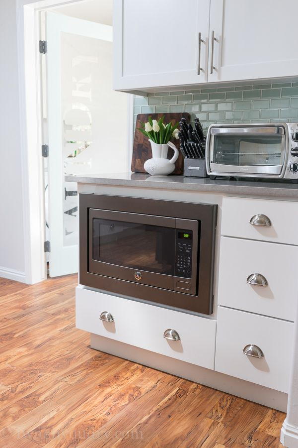 Under Counter Microwave Perfect For Kid S Use With A Drawer Stashed Full Of Snacks