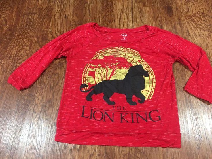 Disney The Lion King Shirt Women's Juniors Medium Heather Red Long Sleeve Gold #Disney #Blouse