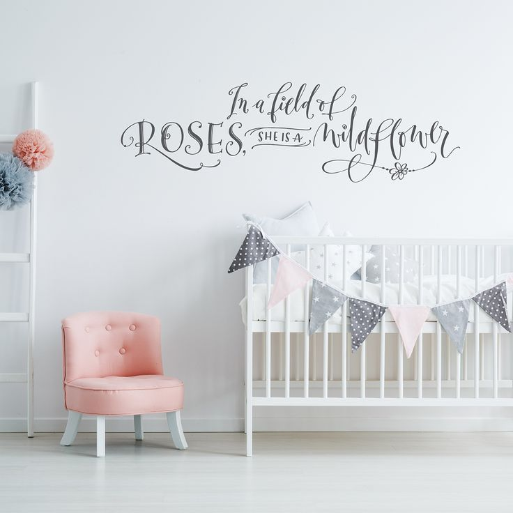 She Is A Wildflower - Girls Bedroom Decals - Hand Drawn Lettering
