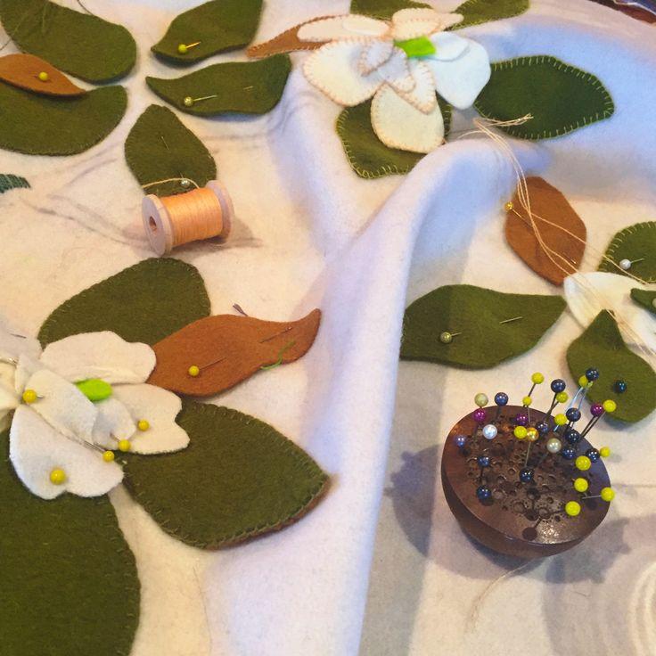 Magnolias blooming @ birdiebrown.co.nz pure wool applique diy kit