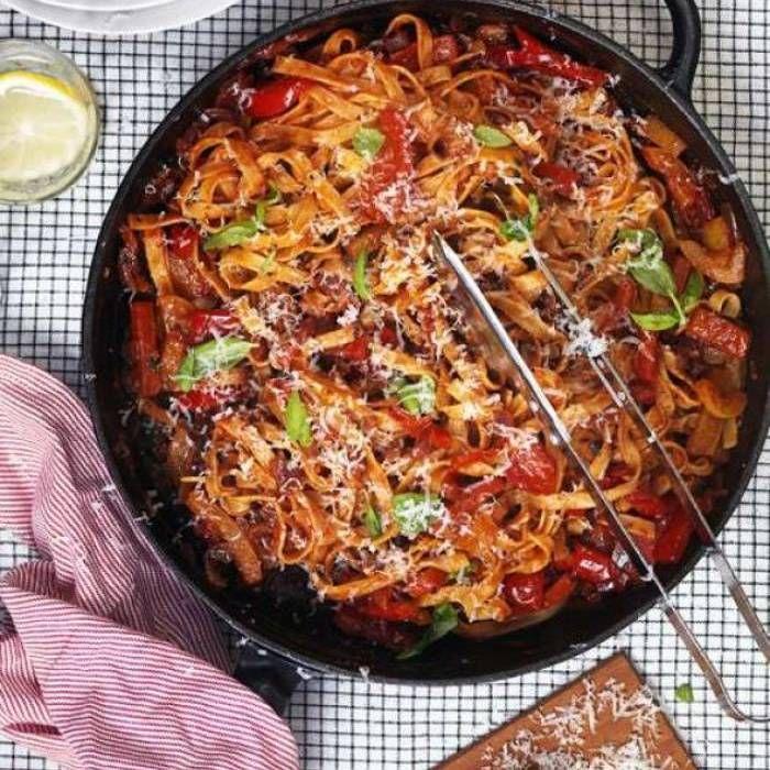 Paolo Robertos vegetariska pasta med goda italienska smaker.