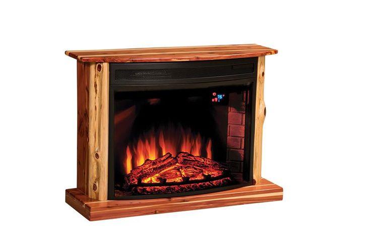 Amish Rustic Cedar Electric Fireplace Fireplaces Pine