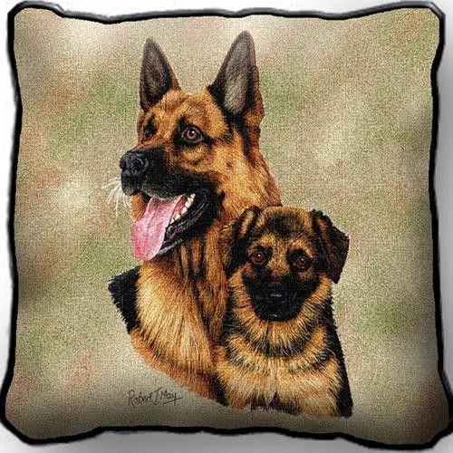 German Shepherd Dog and Puppy Portrait Pillow