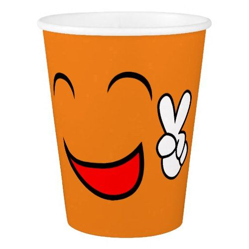 Peace Sign Smiley Face Funny Emoticon Orange Party Paper Cup