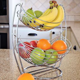 Double Fruit Basket: Tiered Wire, Double Ti Baskets, Counter Spaces, Bananas Baskets, Fruit Baskets, Double Tiered, Wire Baskets, Double Fruit, Fruit Hammocks