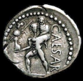 """Aeneas escapes destruction of Troy carrying is father Anchises on his shoulder and the Palladium. Descended from him Rome and the gens """"Iulia"""", Julius Caesar dedicated this coin to his heroic ancestor in 47 BC circa."""