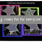 Rockstar Theme CAFE Menu Board with Descriptors  This document includes resources you can use to manage a CAFE Board in your classroom.