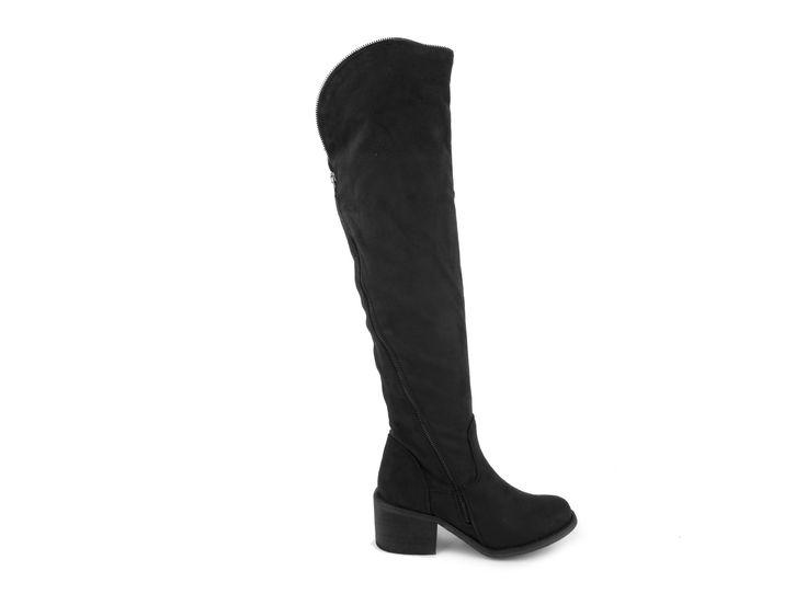 Blink - Vysoké textilní kozačky nad kolena s širokým podpatkem 102026-A / černá