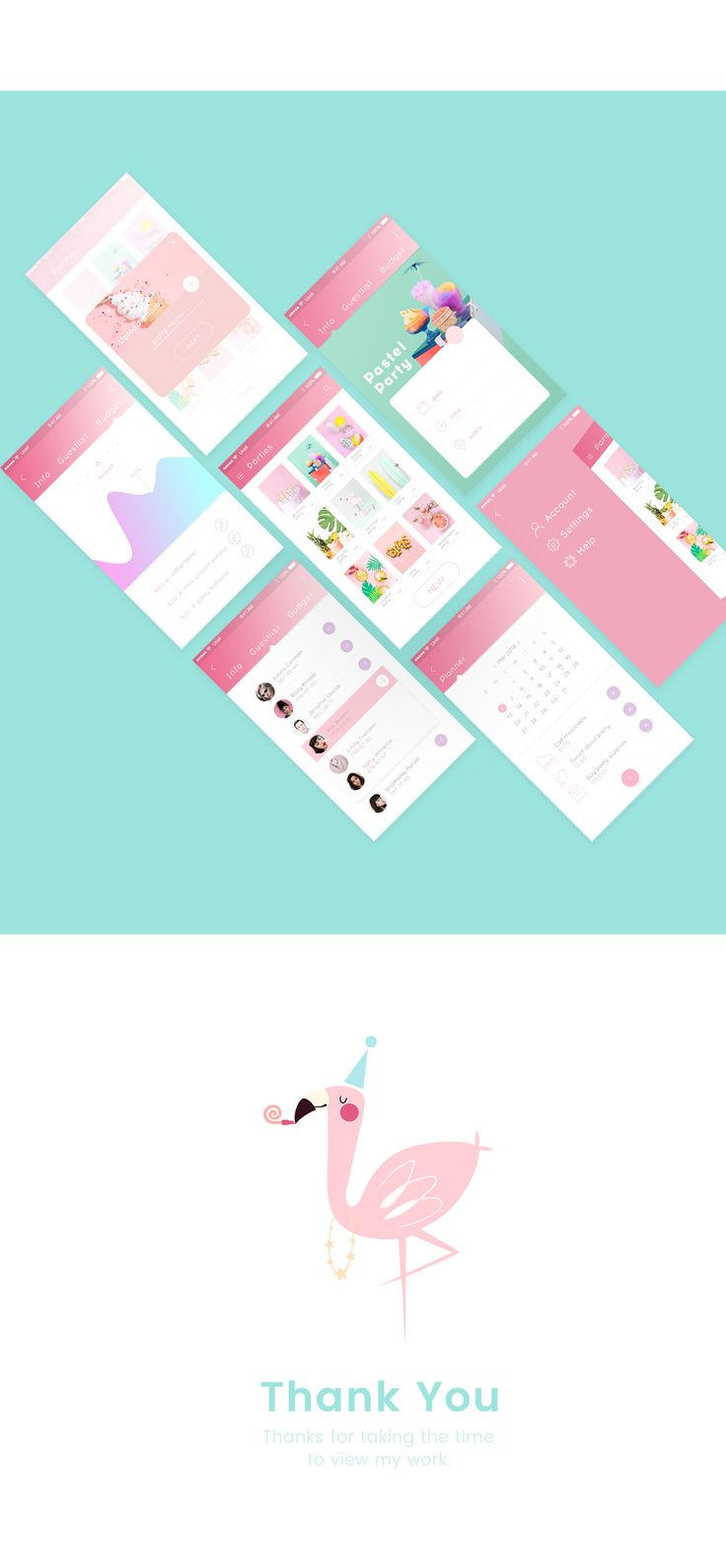 Party planner app on Behance