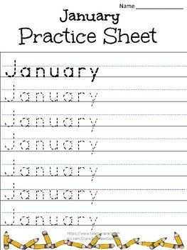 Alphabet Specialty: Tracing the months of the year practice sheets ...
