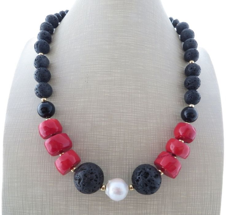 Lava rock necklace, red coral necklace, chunky necklace, black beaded necklace, multi gemstone choker, mother's day gift, italian jewelry by Sofiasbijoux on Etsy
