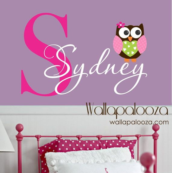 Owl Wall Decal  custom name decal  owl wall by WallapaloozaDecals, $29.00