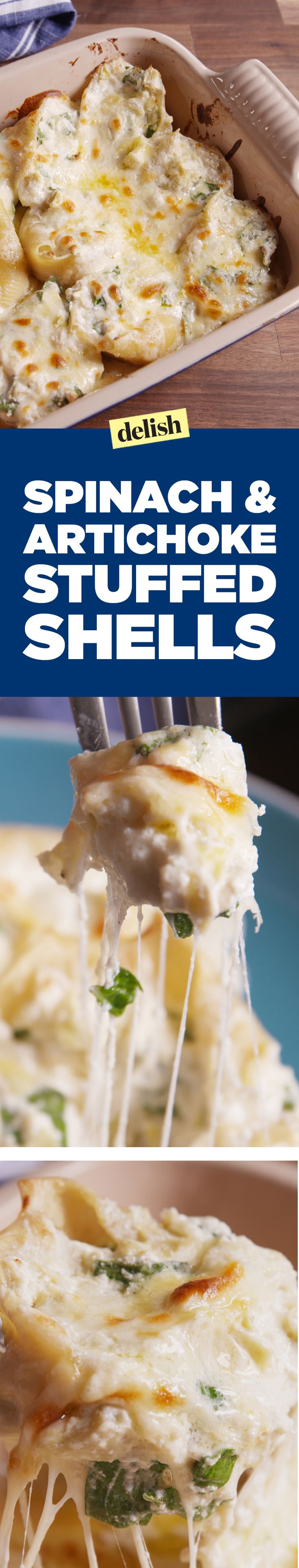 Spinach-artichoke stuffed shells combine your favorite dip with your favorite dinner. Get the recipe on Delish.com.