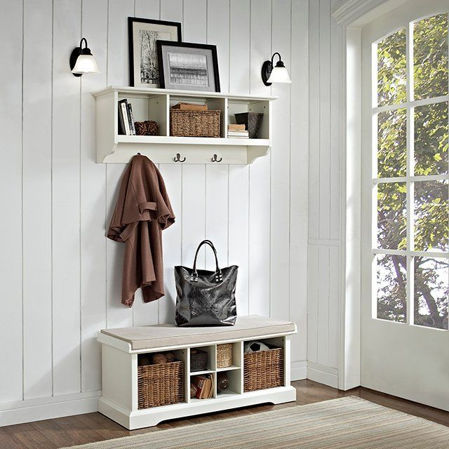 White 2 Piece Entryway Bench And Shelf Set Brennan Entryway Bench Storage Entryway Bench Minimalist Entryway