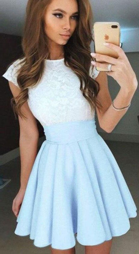 Pale Blue Homecoming Dress,A-Line Homecoming Gown,Cap Sleeves Short Chiffon Homecoming Dress with Lace Top,Mini Prom Dress,Short Prom Dress
