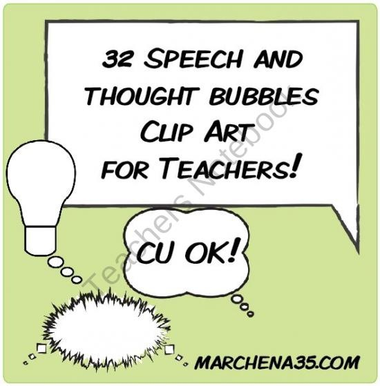 32 Thought and Speech Bubbles product from Marchena35-Clip-Art on TeachersNotebook.com