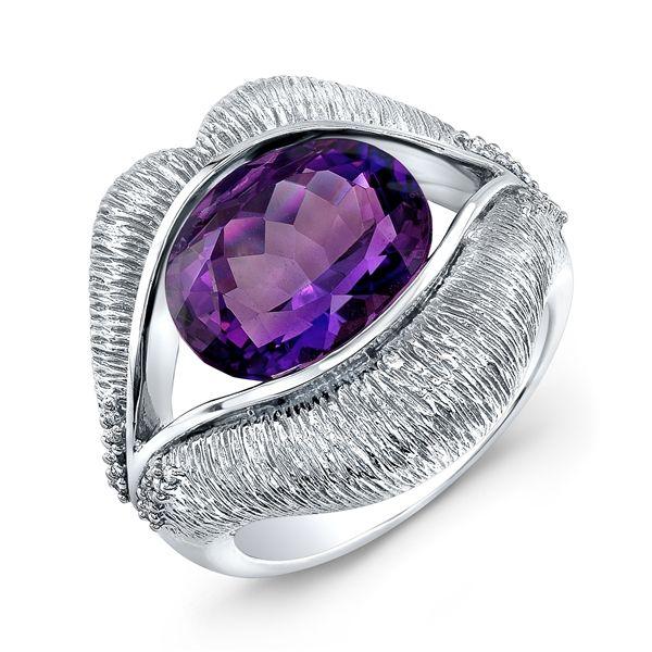 KissMe Amethyst and Diamond Sterling Silver Ring